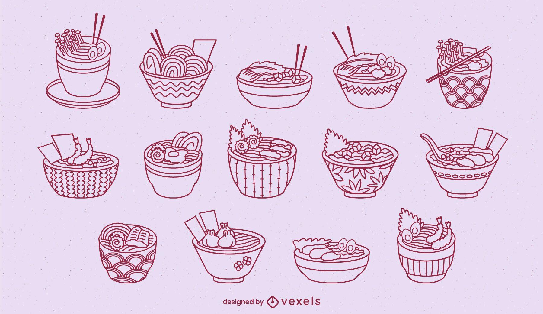 Conjunto de arte em linha de taças de ramen fofas com comida japonesa