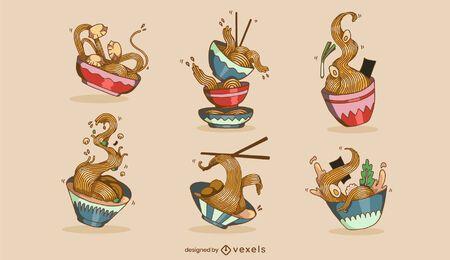 Conjunto de ilustración de comida japonesa de tazón de ramen