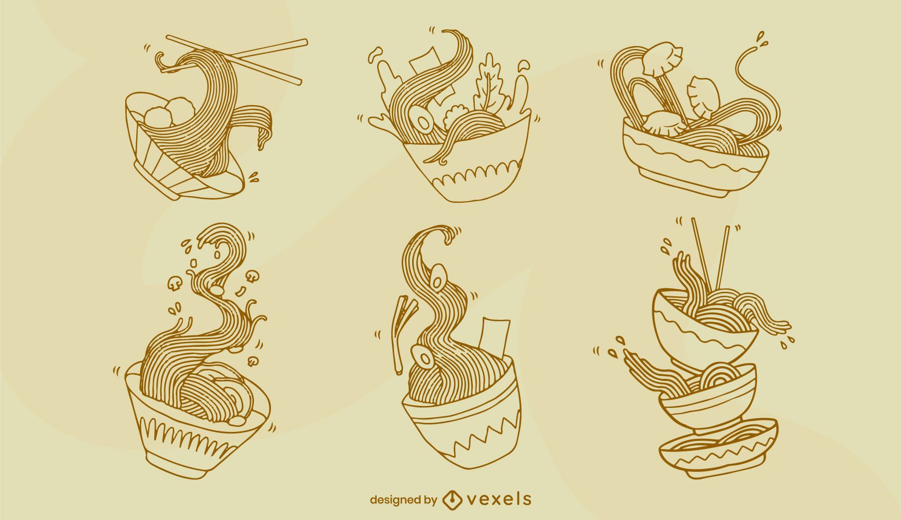 Conjunto de arte de línea de comida japonesa de tazón de ramen