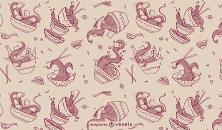 Diseño de patrón de arte de línea de comida de tazón de ramen