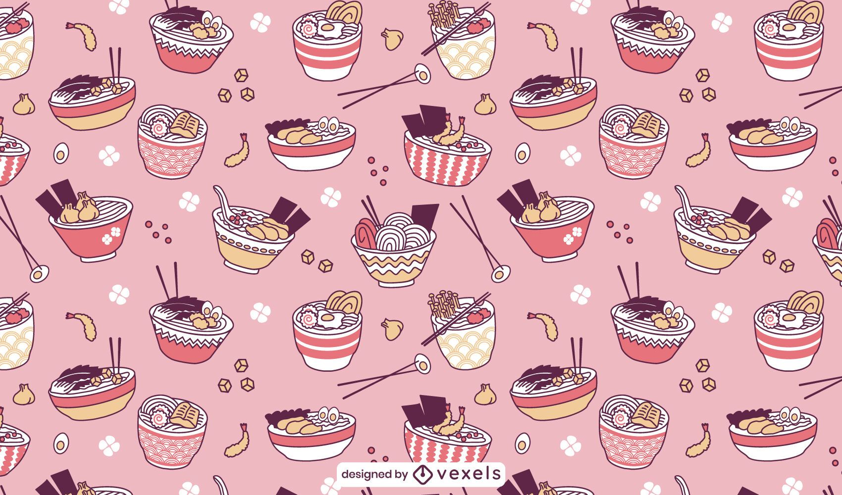 Ramen japanisches Lebensmittelmusterdesign