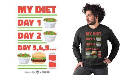Divertido diseño de camiseta de rutina del día de la dieta.