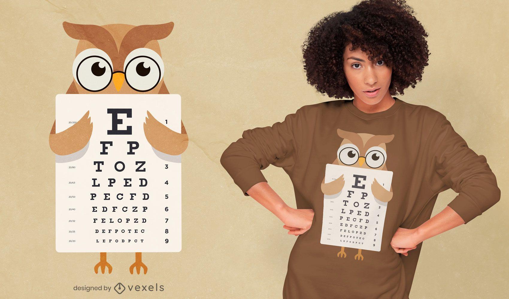 Owl eye chart t-shirt design