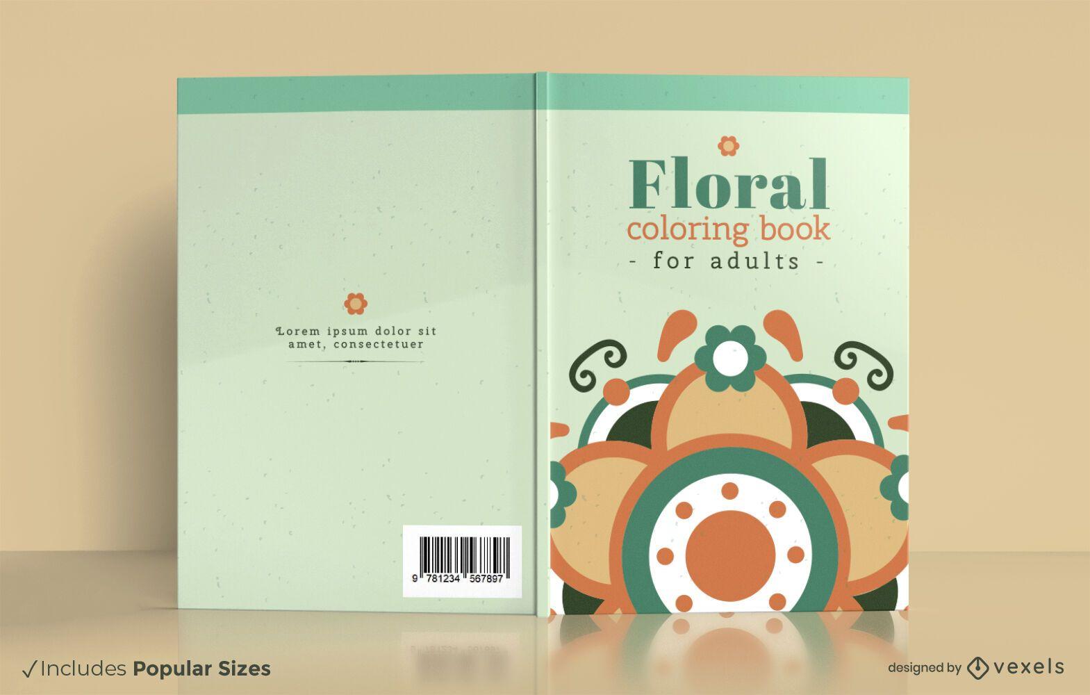 Design de capa de livro para colorir mandala floral