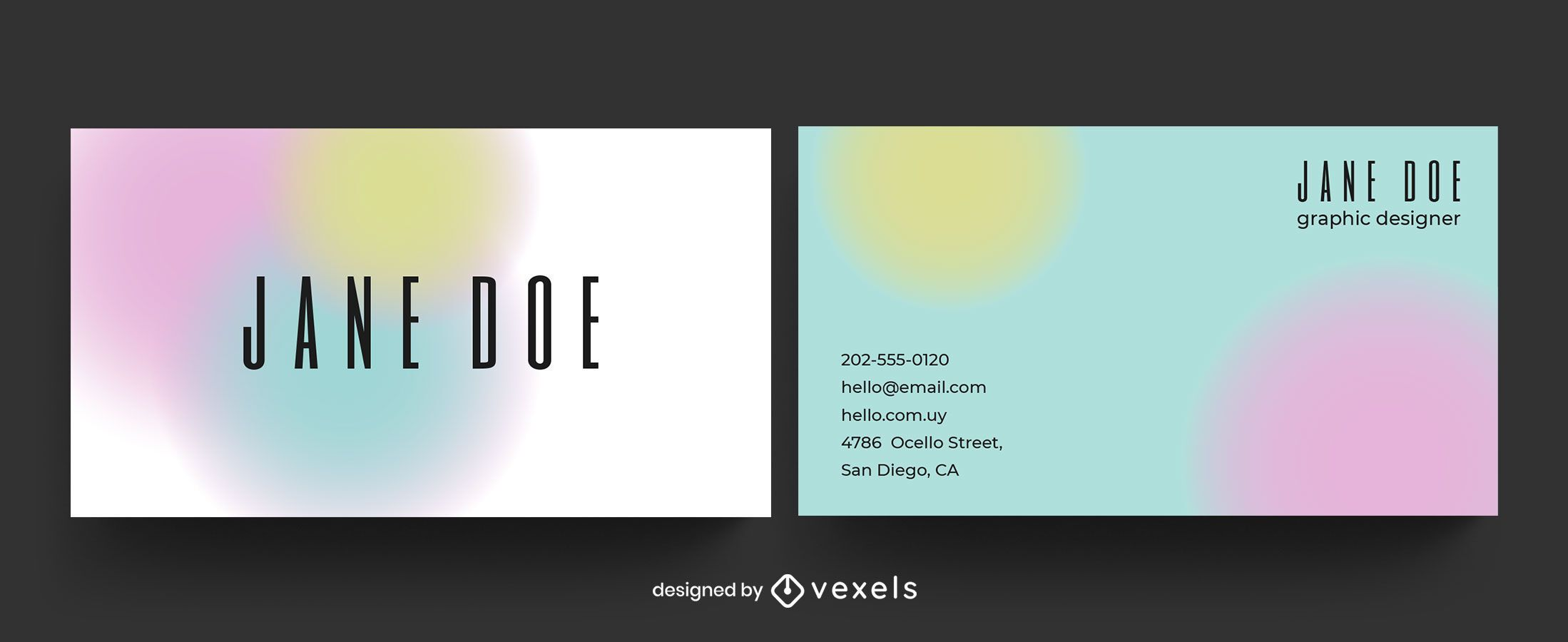 Business card gradient shapes template