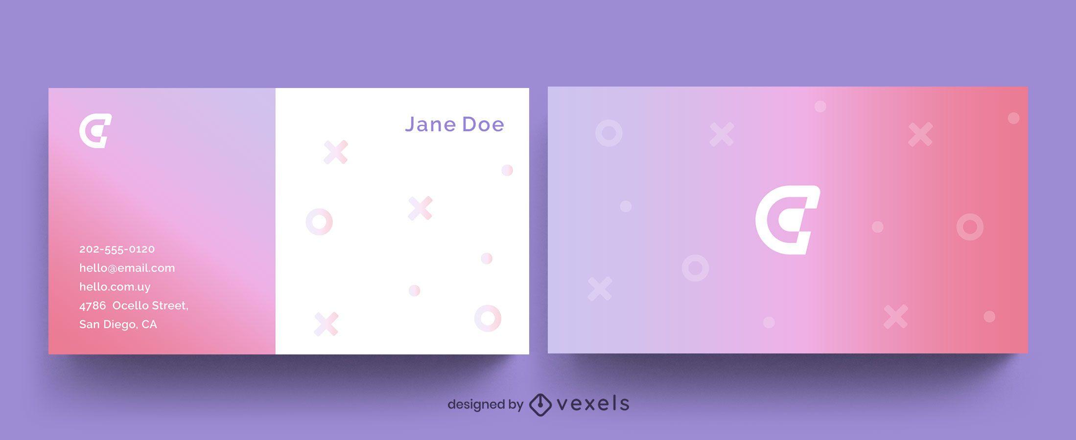 Modelo de símbolos de gradiente de cartão de visita