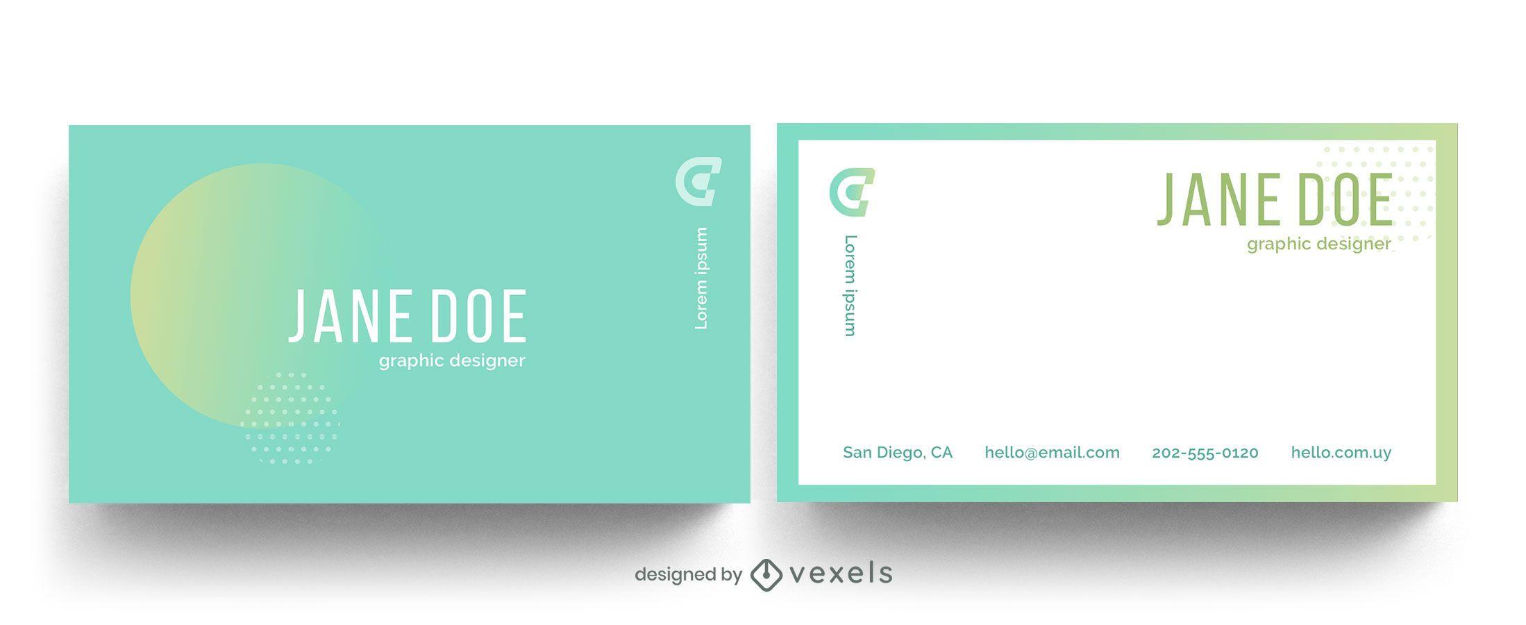 Forma geométrica gradiente de cartão de visita