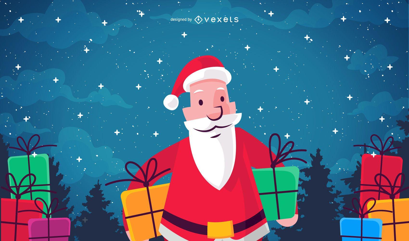 Ilustración de vector de Navidad de Santa Claus