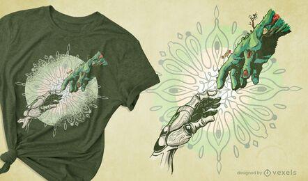 Diseño de camiseta de tecnología de creación y naturaleza.