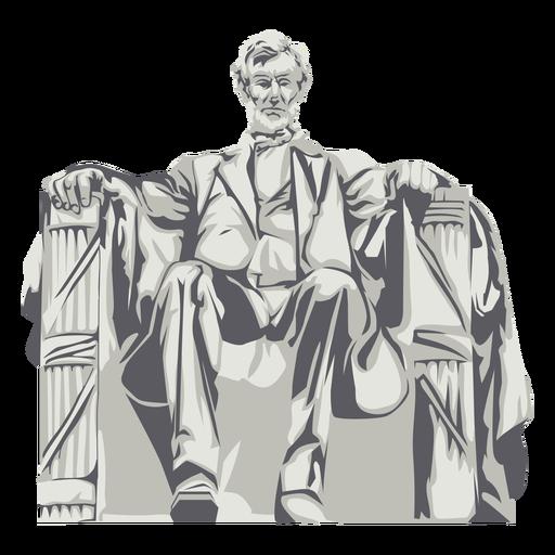 Abraham lincoln statue landmark semi flat