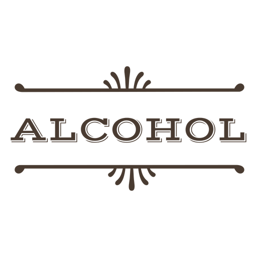 Alcohol text label stroke