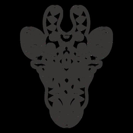 Giraffe head frontal mandala cut out