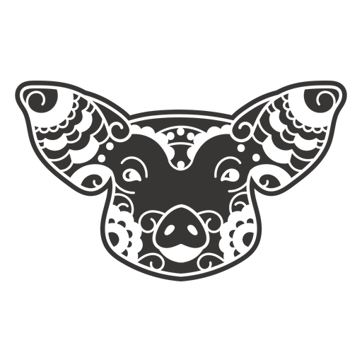 Pig face mandala cut out
