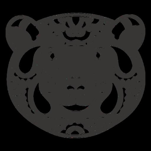 Bear face mandala cut out