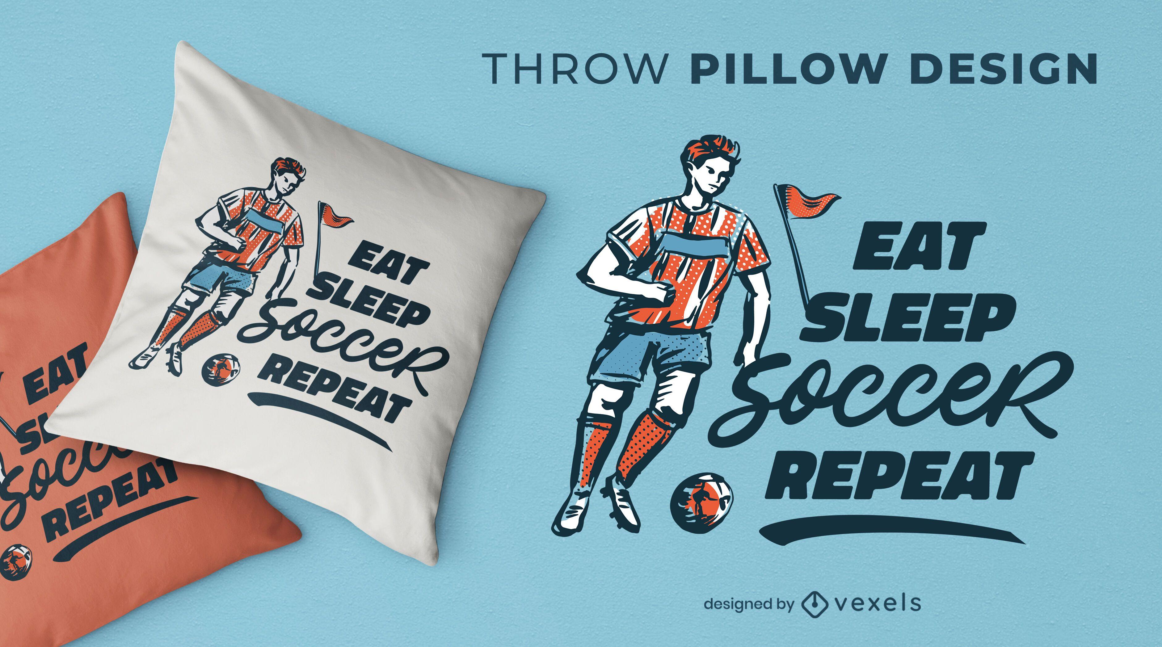 Diseño de almohada de tiro de rutina de deporte de fútbol.