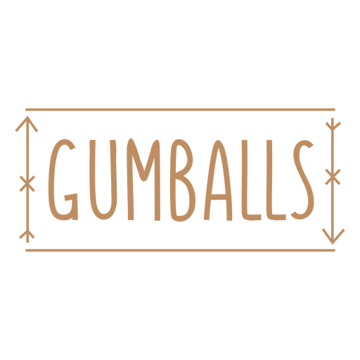 Gumballs text hand written label stroke