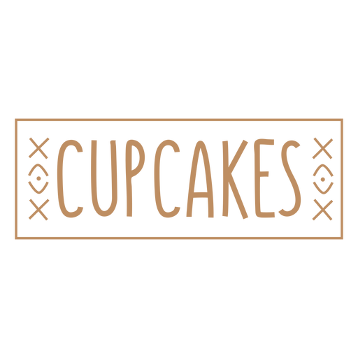 Cupcakes text hand written label stroke