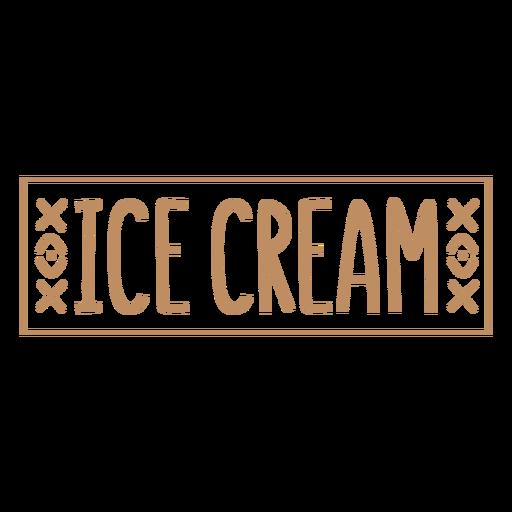 Ice cream text hand written label stroke