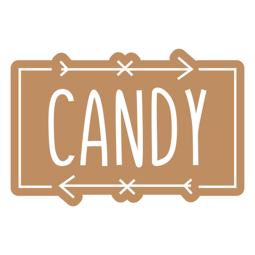 Candy text hand written label cut out