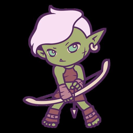 Chibi orc warrior girl archer