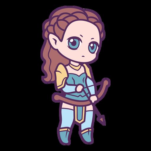 Chibi woman archer character