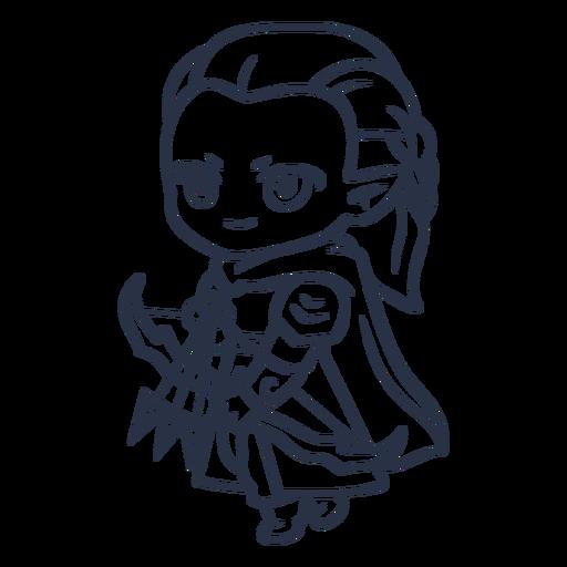 Chibi elf girl archer stroke