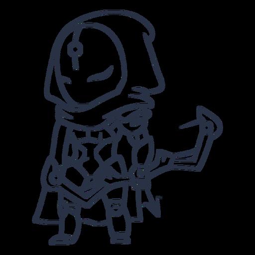 Chibi robot archer character stroke