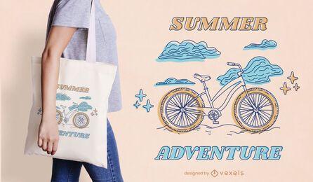 Design de sacola de verão linha arte de bicicleta
