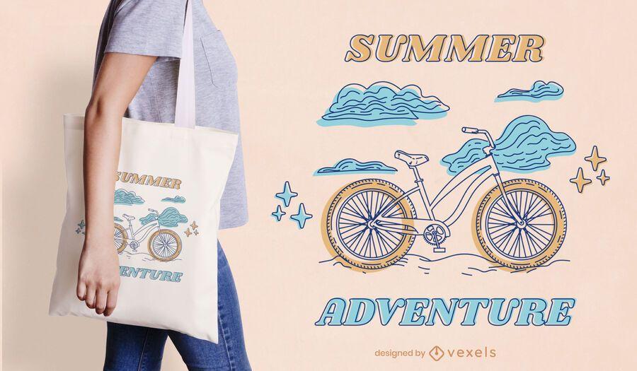 Bicycle line art summer tote bag design