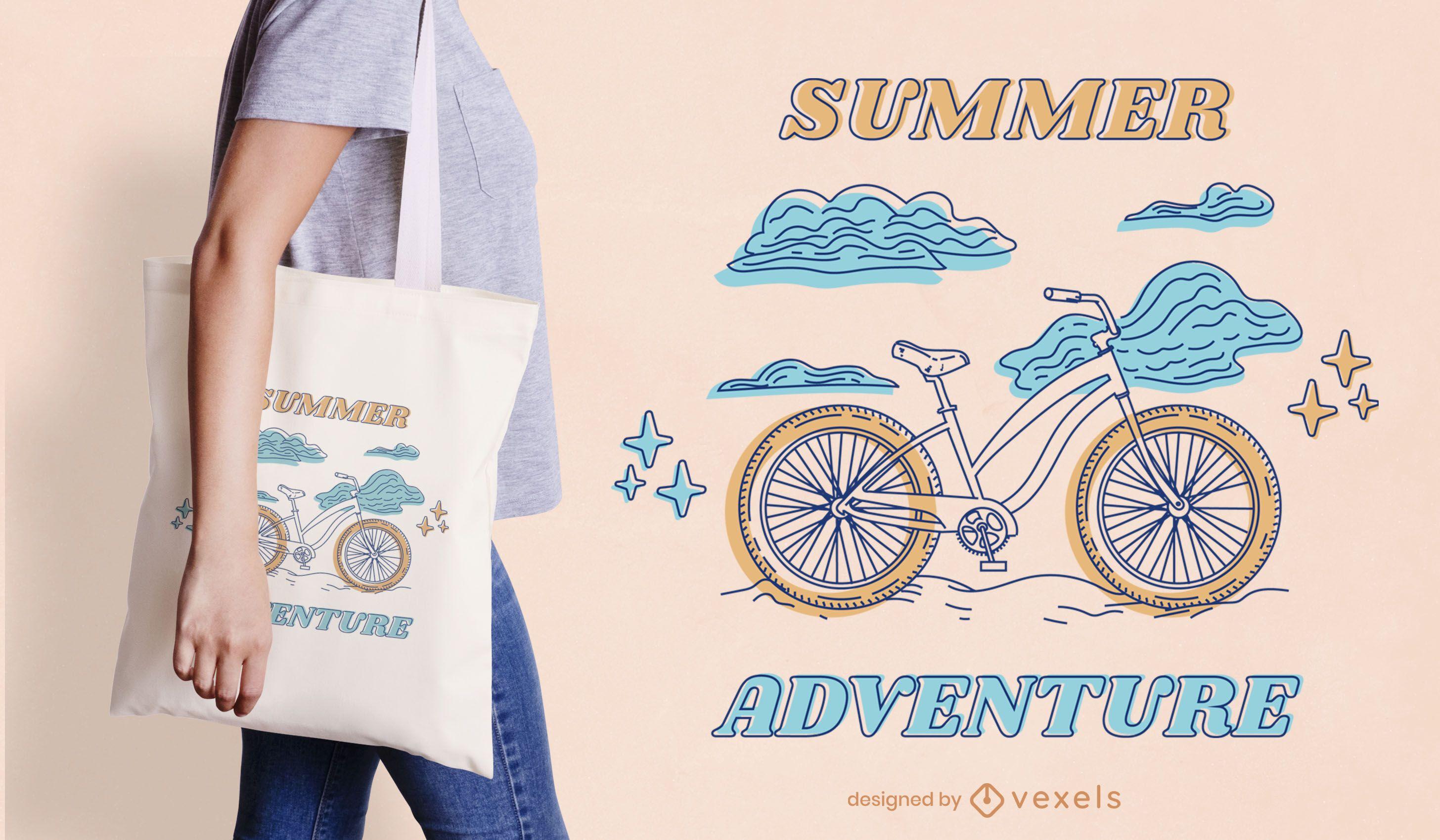 Diseño de bolso de mano de verano de arte de línea de bicicleta.