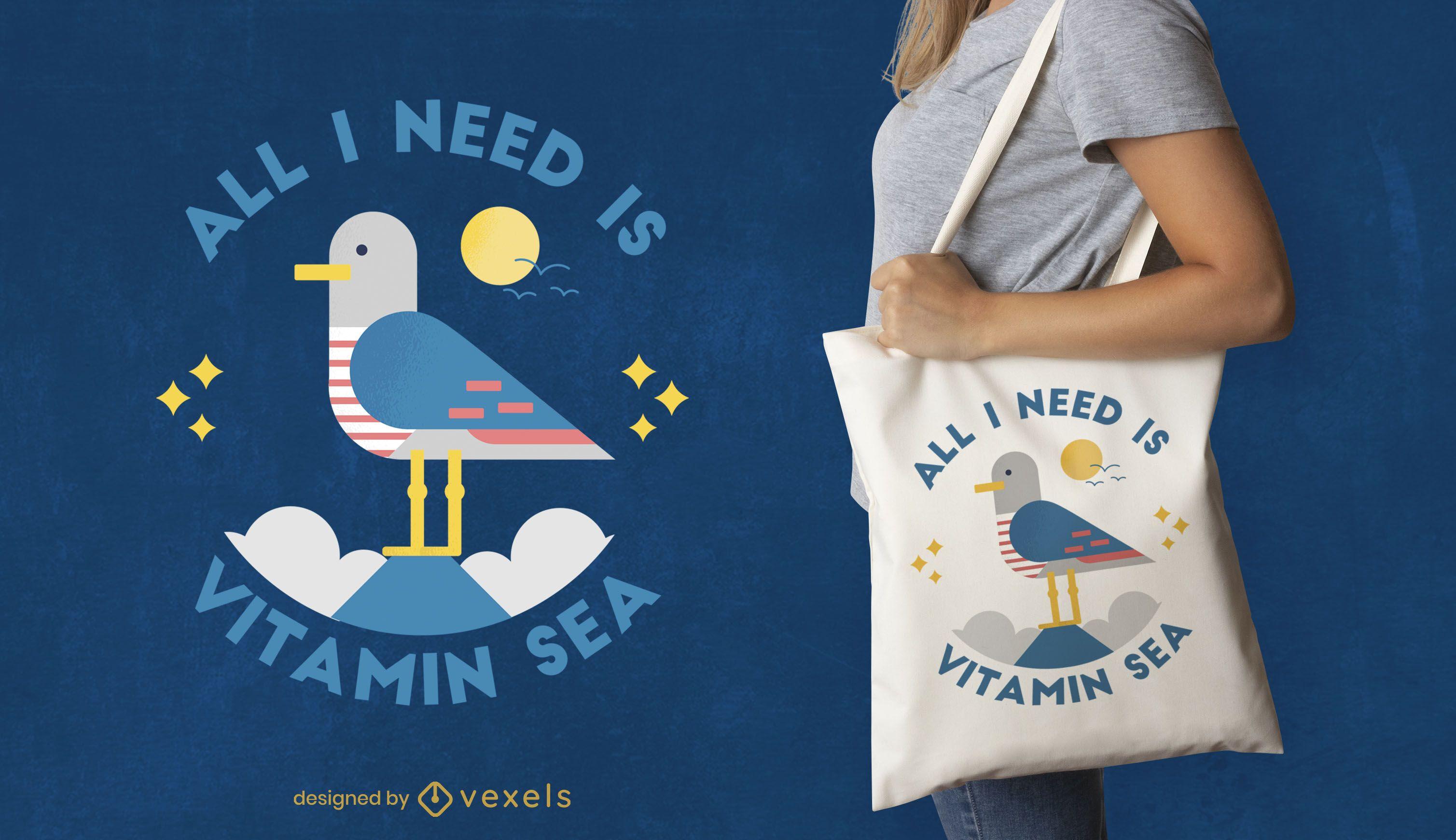 Design de sacola com citação de pássaro gaivota