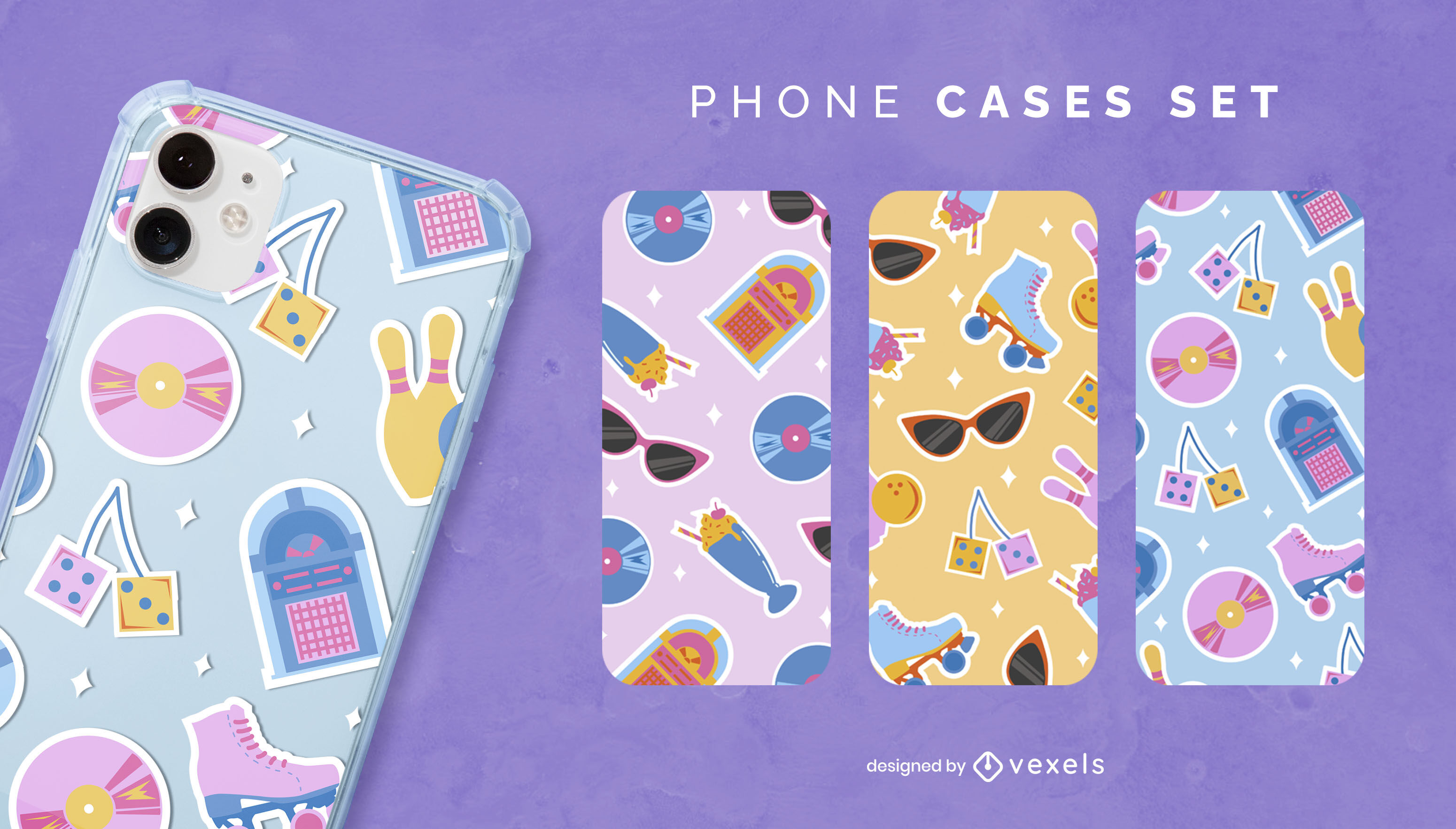 Retro 50's elements phone case set