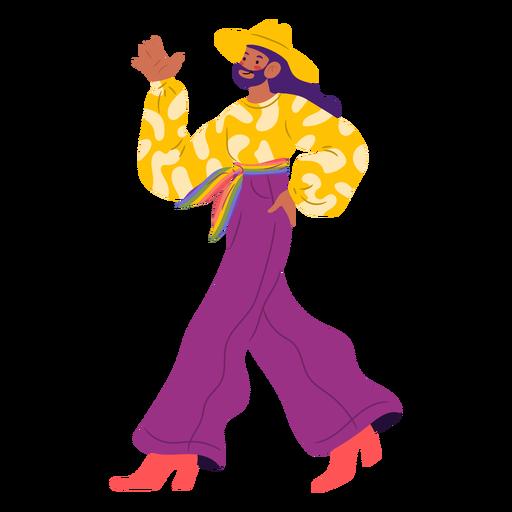 Queer person walking semi flat
