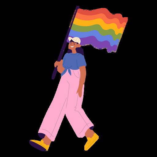 Girl with pride flag semi flat