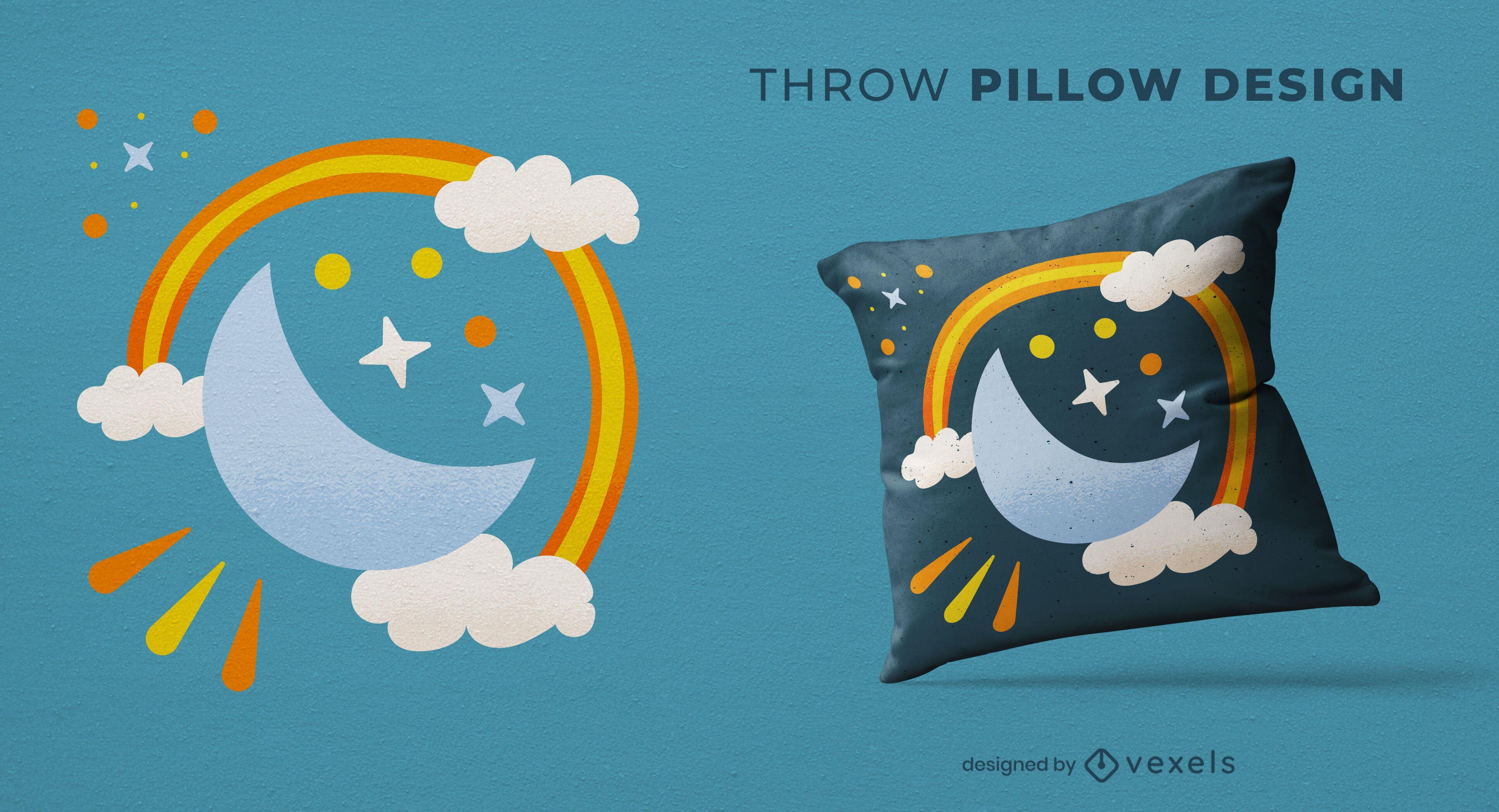 Design de travesseiro decorativo lua e arco-íris
