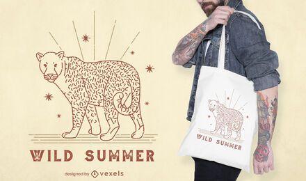 Diseño de bolso de mano con cita de verano de leopardo