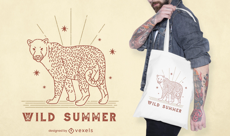 Design de sacola de citações de verão leopardo