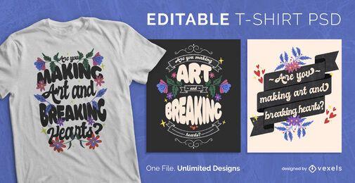Camiseta escalable letras florales psd