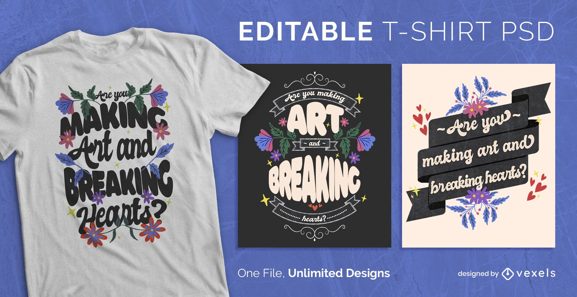 Floral lettering scalable t-shirt psd