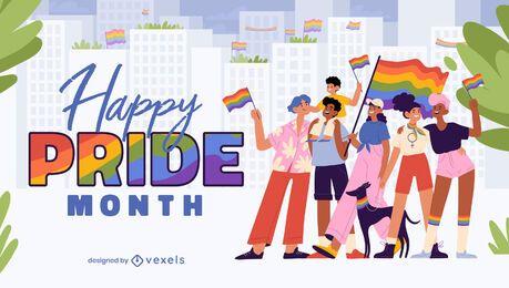 Gente del mes del orgullo marchando banderas ilustración