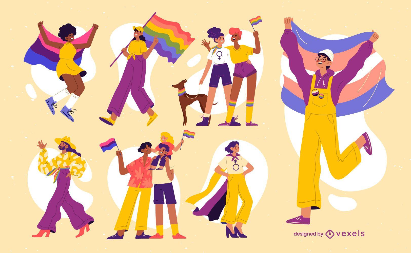 Pessoas do mês do orgulho com personagens de bandeiras