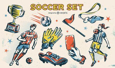 Conjunto de elementos de esboço de esporte futebol futebol