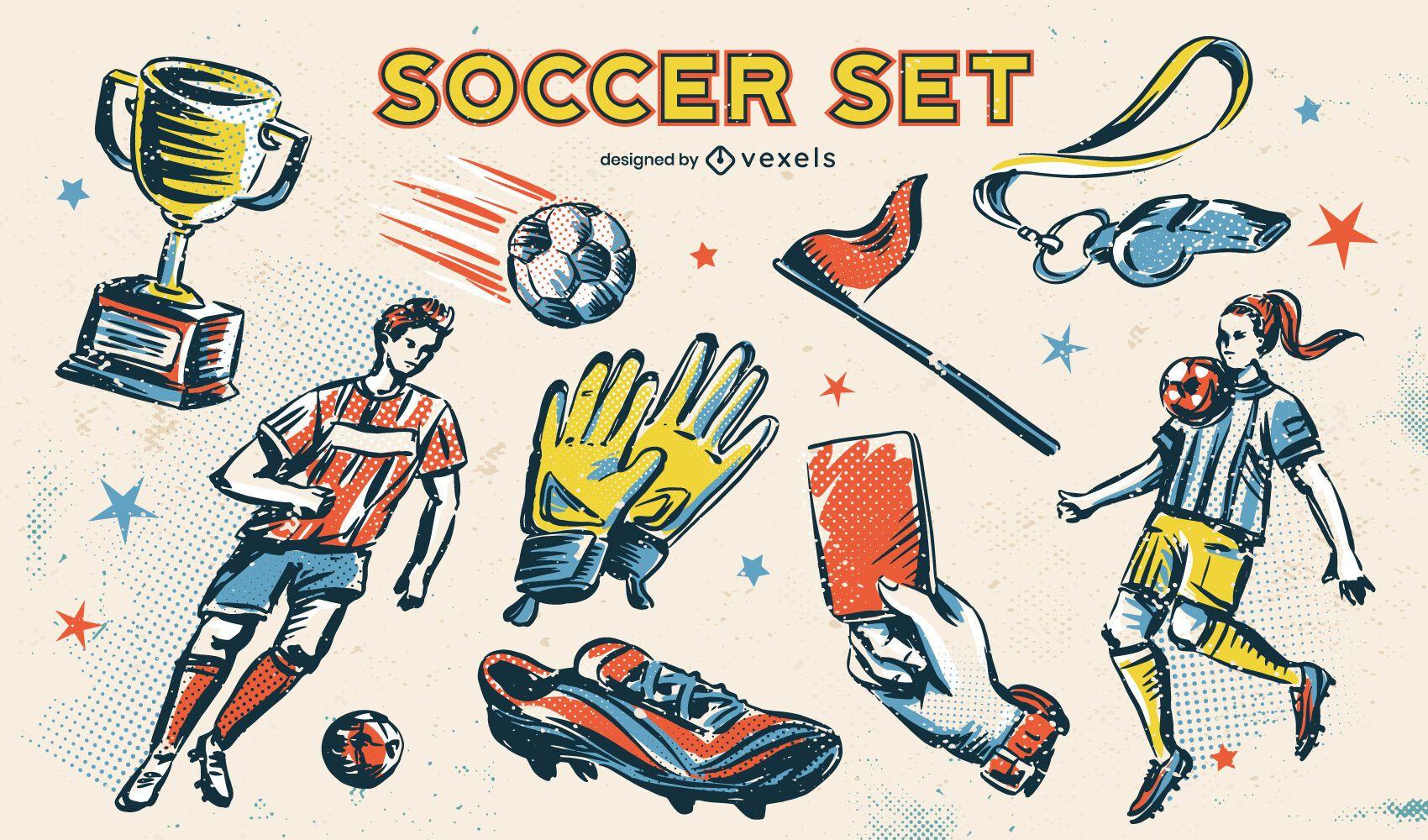 Fußball Fußball Sport Skizze Element Set
