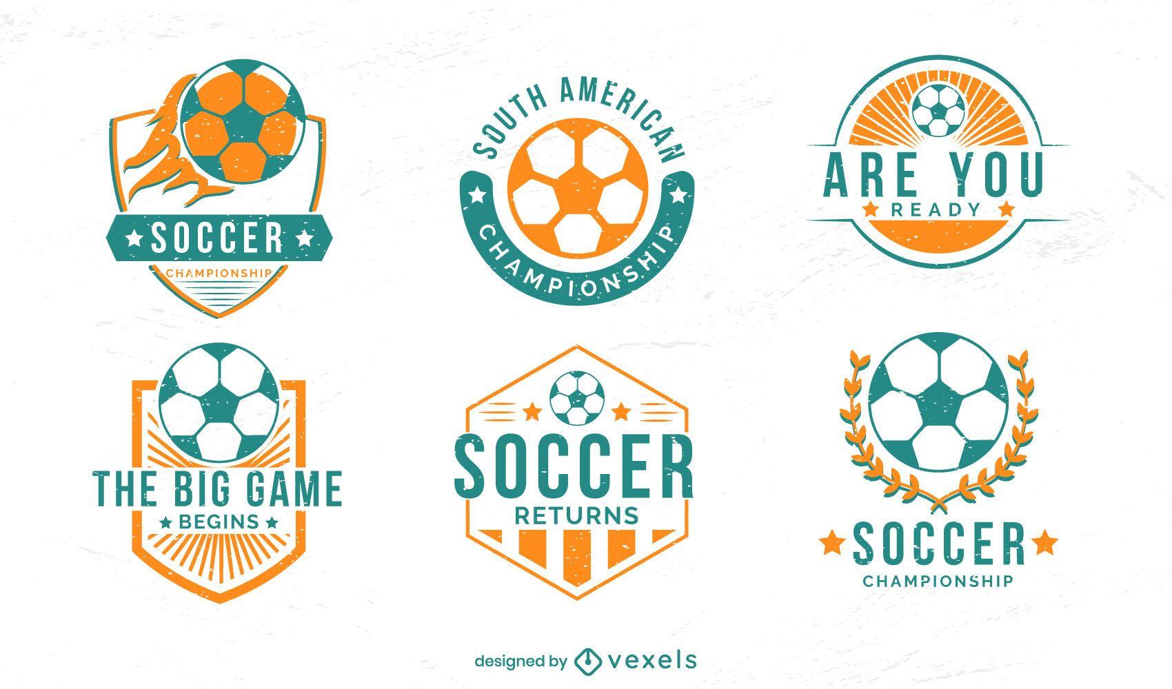 Conjunto de insignias de pasatiempo deportivo de fútbol.
