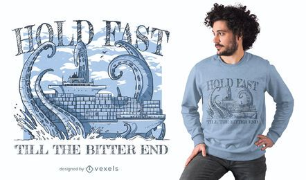 Sea monster against ship t-shirt design
