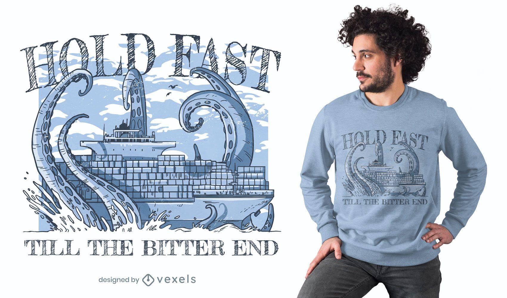 Monstro marinho contra design de t-shirt de navio