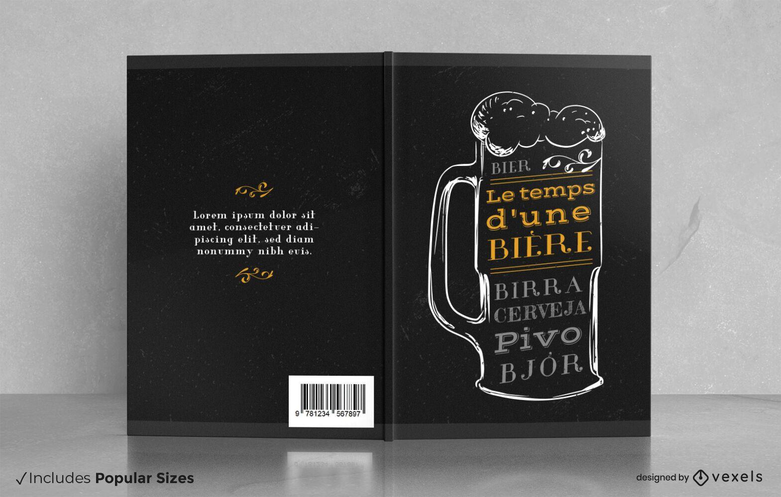 Diseño de portada de libro de degustación de bebidas de cerveza.