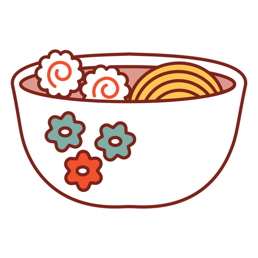 Floral bowl ramen noodles food