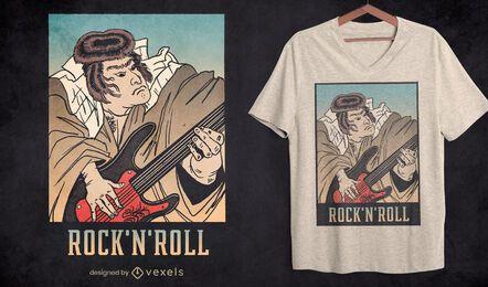 Design de camiseta de guitarra samurai rock and roll