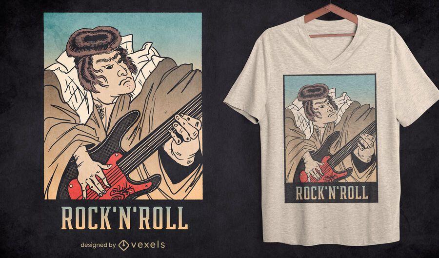 Samurai rock and roll guitar t-shirt design